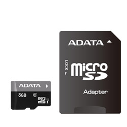 ADATA AUSDH8GUICL10-RA1 ADATA microSDHC UHS-I CLASS10 with Adapter 【 8GB 】