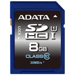 ADATA ASDH8GUICL10-R ADATA SDHC UHS-I CLASS10 【 8GB 】