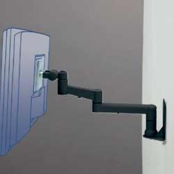 アルファーテック PS-9F3-B 壁・パネル取付式アームスタンド 7Kg対応 3軸タイプ(ブラック)