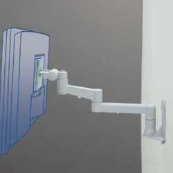 アルファーテック PS-9F3-LG 壁・パネル取付式アームスタンド 7Kg対応 3軸タイプ(ライトグレー)