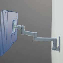 アルファーテック PS-9F3-S 壁・パネル取付式アームスタンド 7Kg対応 3軸タイプ(シルバー)