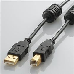エレコム U2C-BF07BK USB2.0ケーブル/フェライトコア付 ABタイプ/0.7m(ブラック)