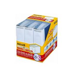 日立マクセル BND-24BK.3BOX CD/DVDバインダー .ディスク24枚収納可能箱.不織布ケース12枚付き