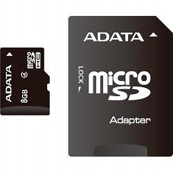 ADATA AUSDH8GCL4-RA1 microSDHCカード Class4【8GB】アダプタ付き