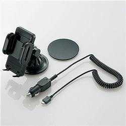 エレコム MPA-CH001UCBK スマートフォン用シガーチャージャー付き車載ホルダー/ブラック
