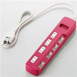ioPLAZA【アイ・オー・データ直販サイト】エレコム T-PN02-2410PN 雷ガードタップ/color style/個別スイッチ/2P/4個口/1m/ピンク