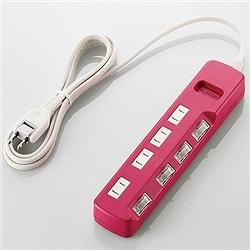 ioPLAZA【アイ・オー・データ直販サイト】エレコム T-PN02-2420PN 雷ガードタップ/color style/個別スイッチ/2P/4個口/2m/ピンク