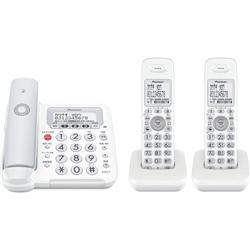 パイオニア デジタルフルコードレス留守番電話機 子機2台 TF-FE30T-H 電話機