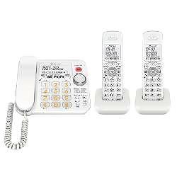 パイオニア デジタルコードレス留守番電話 子機2台 TF-SA30W-W 電話機