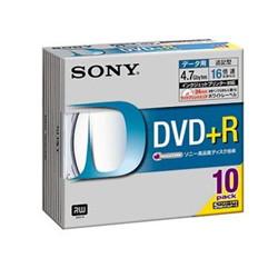 ソニー 10DPR47HPSH データ用DVD+Rディスク 白色プリンタブル 16倍速対応 10枚パック 5ミリケース