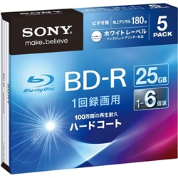 ソニー 5BNR1VGPS6 ビデオ用BD-R 追記型 片面1層25GB 6倍速 ホワイトプリンタブル 5枚パック