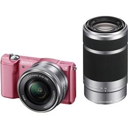 ソニー ILCE-5000Y/P デジタル一眼カメラ α5000ダブルズームレンズキット ピンク
